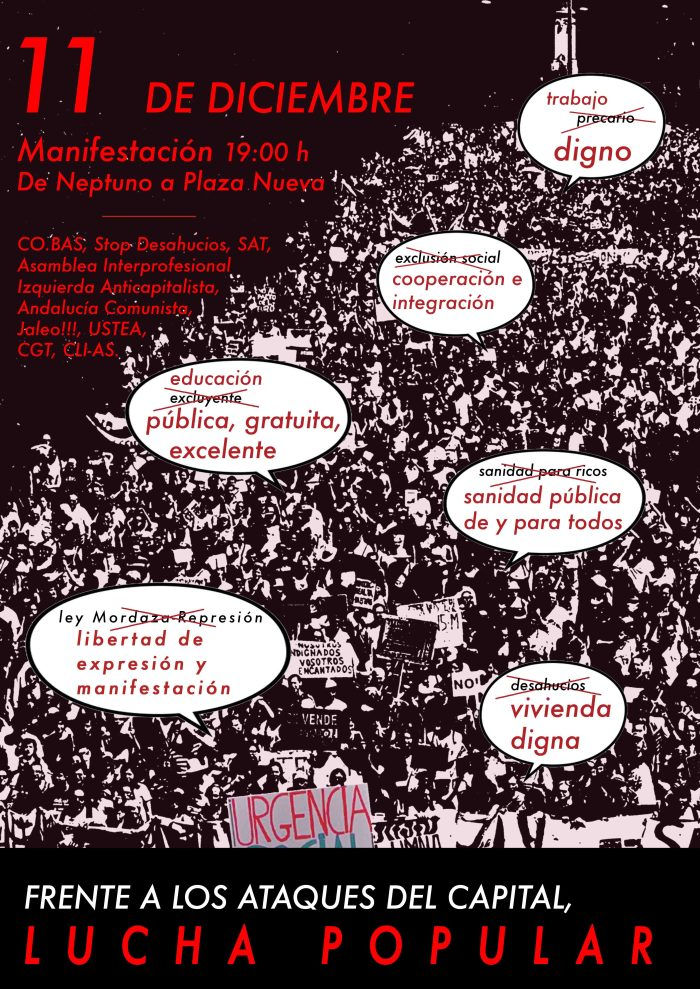 MANIFESTACION: FRENTE A LOS RECORTES DEL CAPITAL, LUCHA POPULAR
