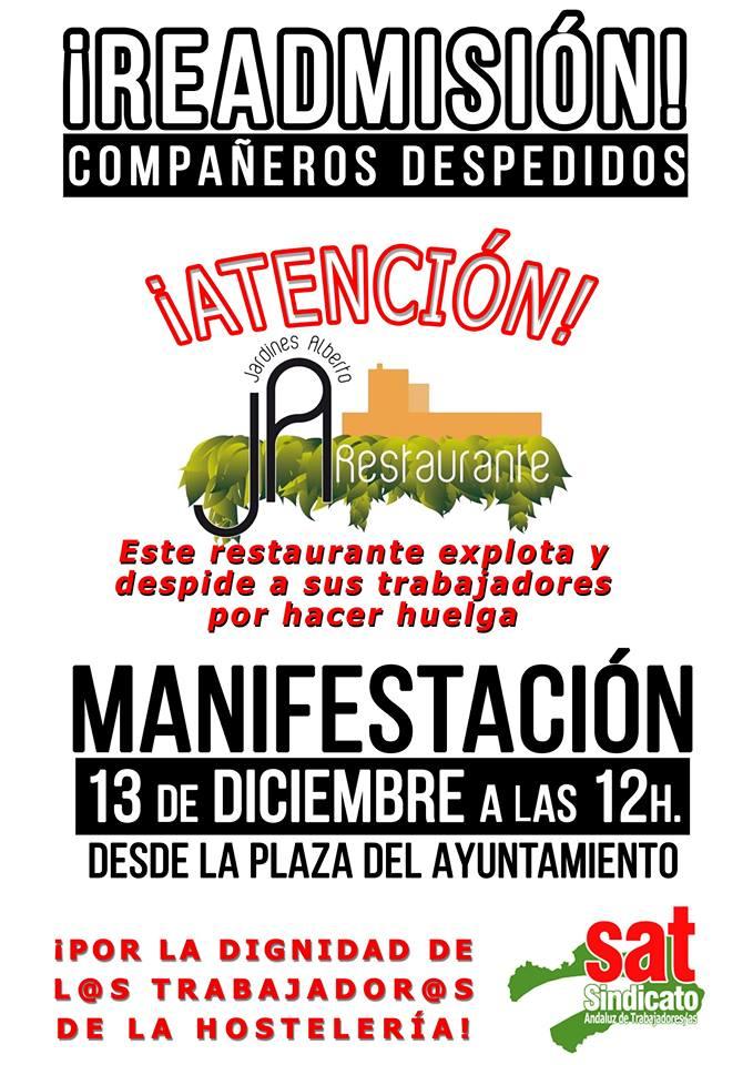 Sábado 13 de Diciembre: Manifestación en apoyo a la lucha por la readmisión de los compañeros en JardinesAlberto