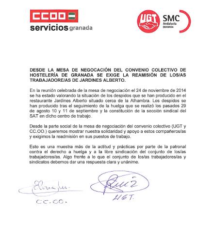 Desde la mesa de negociación del convenio colectivo de hosteleria de Granada se exige la readmisión de los trabajadores de JardinesAlberto