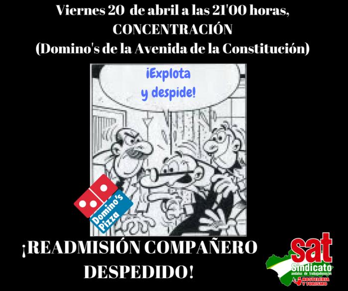 20 de abril: Jornada de solidaridad y lucha contra la represión sindical en Domino'sPizza.