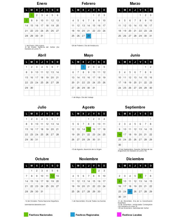 Calendario Laboral 2019 Andalucia.Calendario Laboral En Granada Para 2019 Sindicato Andaluz De