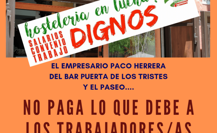 La Hostelería se manifiesta, 27 de sept 20'00 horas (Paza delCarmen).