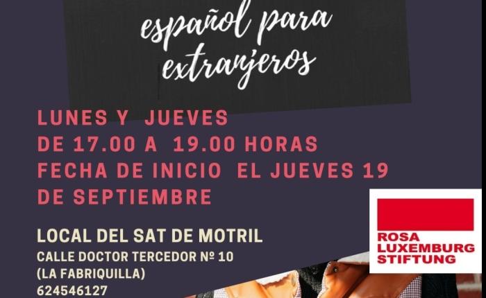 Curso   de   español nivel básico, Motril :   jueves 19 septiembre, hasta el 31 deoctubre