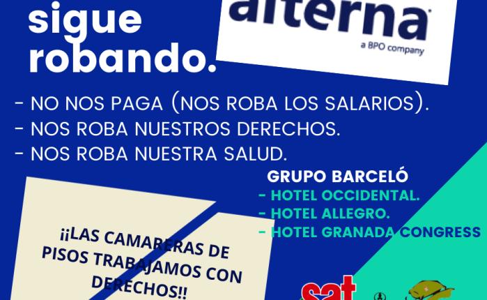 Las trabajadoras de ALTERNA (Grupo Barceló) otro mes más sincobrar.