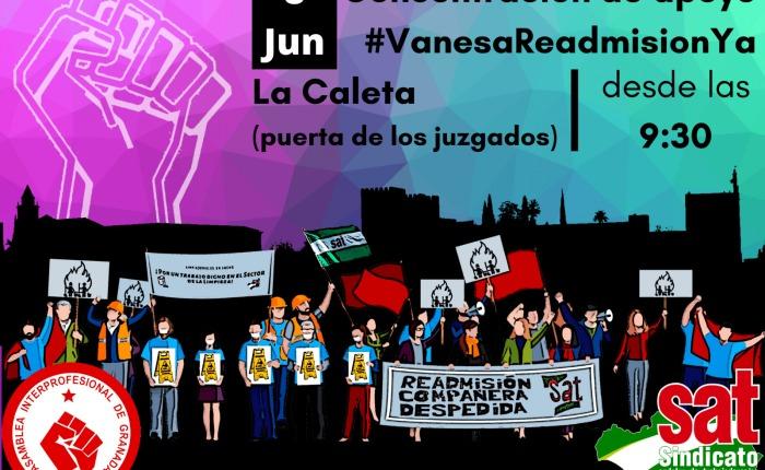 EL SAT y diversas organizaciones sindicales,  sociales y políticas se concentran el los Juzgados de Granada el lunes 8 dejunio.