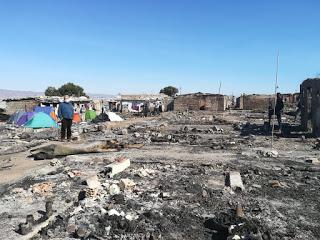 Incendio en el poblado de trabajadores del campo de Atochares enNíjar
