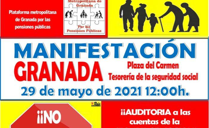 Manifestación en defensa de las pensiones públicas (29 de mayo, 12 horas Plaza delCarmen).