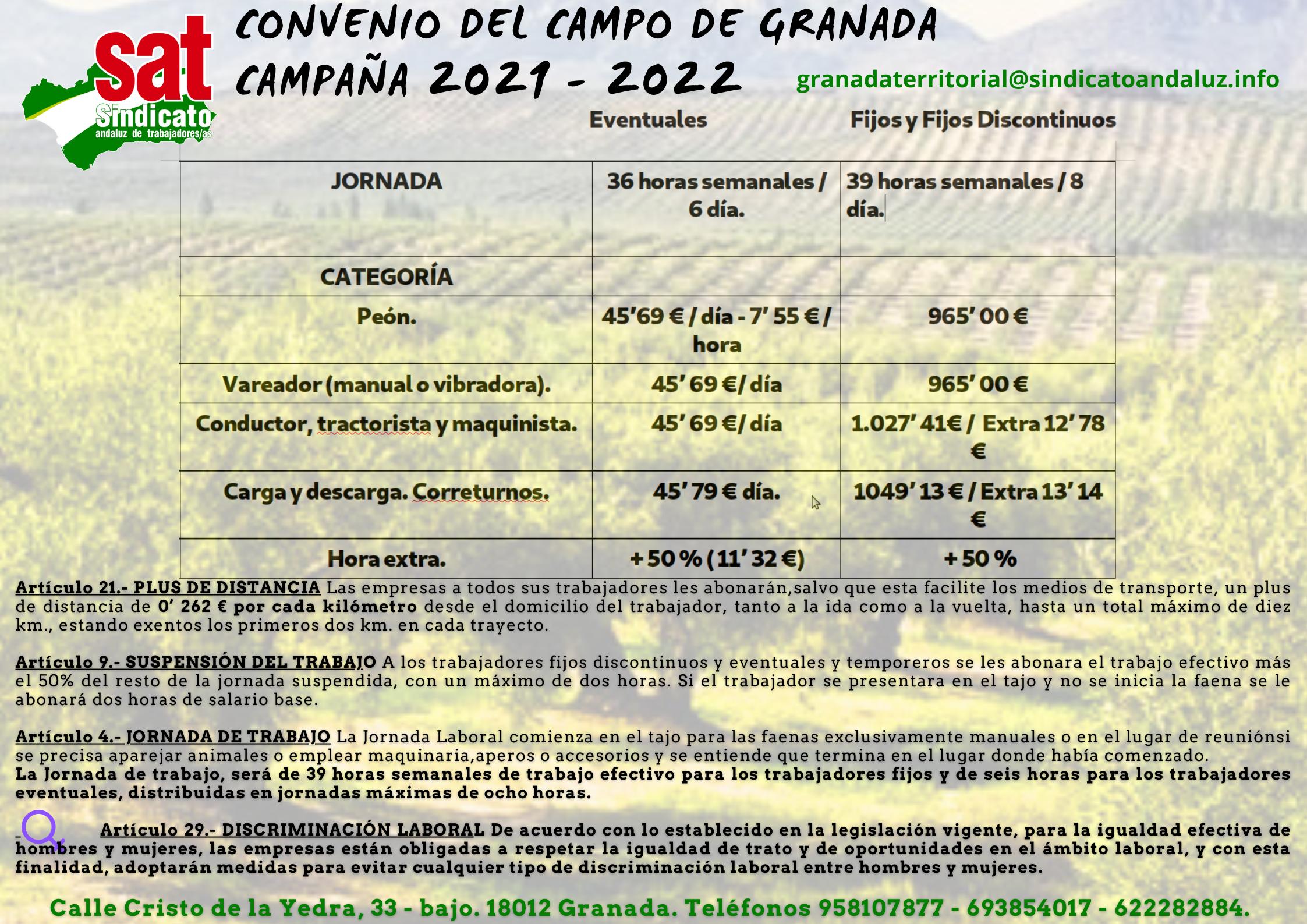 CONVENIO CAMPO 2021 - 2022 Tablas Salariales. (Póster (horizontal))