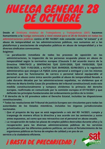 Panfleto Huelga 28 de octubre
